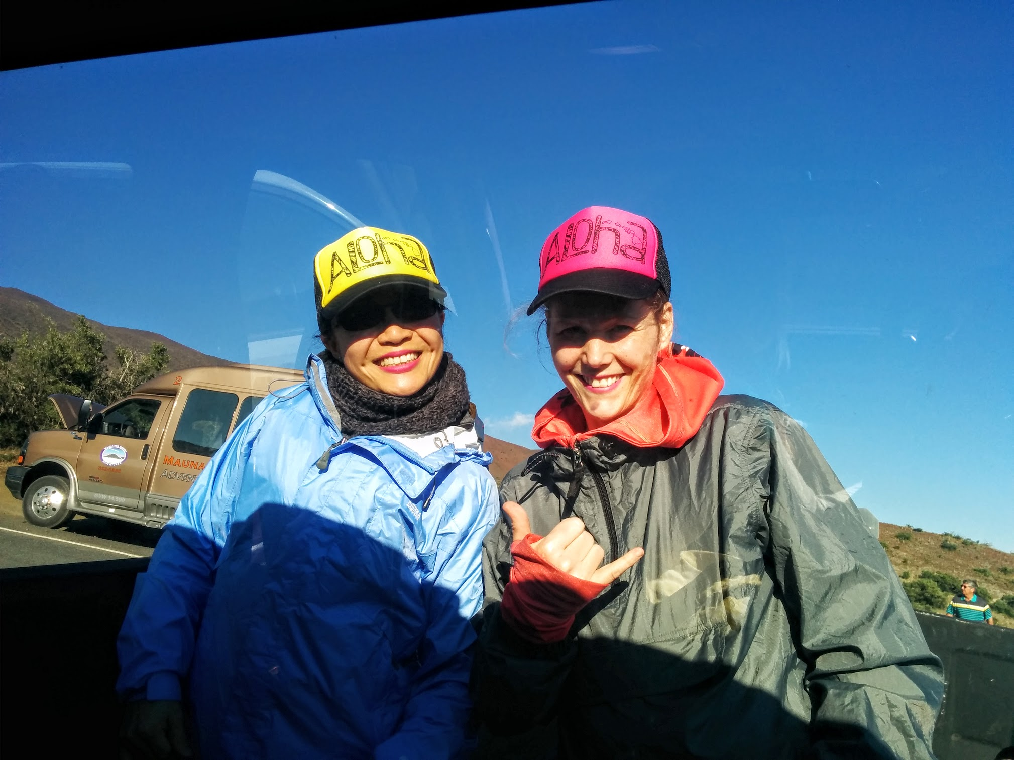 Jess and Jenny up Mauna Kea